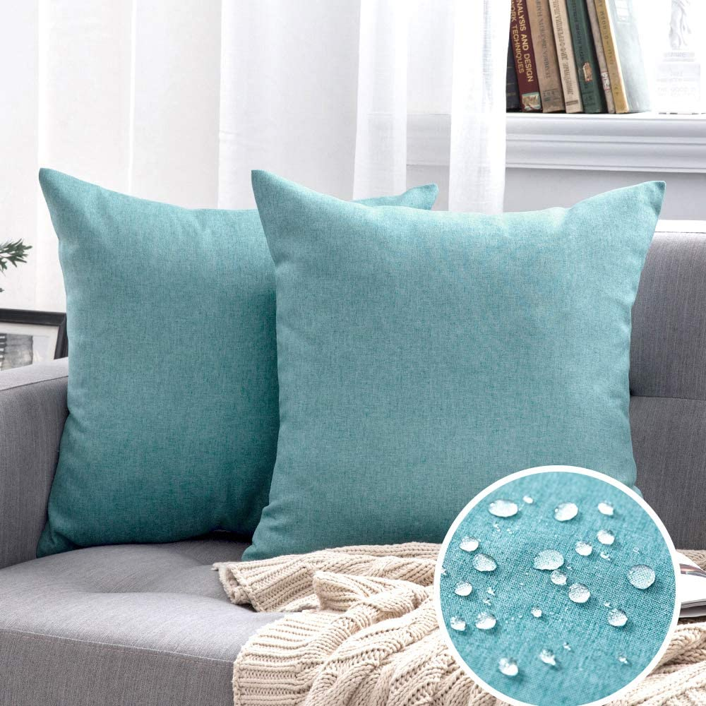 MIULEE Pack of 2 Decorative Outdoor Solid Waterproof Throw Pillow Covers Polyester Linen Garden Farmhouse Cushion Cases for Patio Tent Balcony Couch Sofa 18x18 inch Turquoise