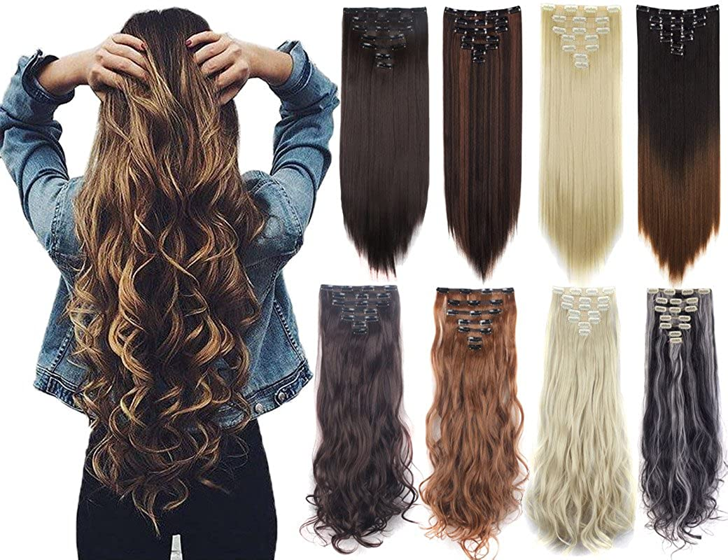 7Pcs Thick Curly Wavy Straight Clip in Double Weft Hairpiece Hair Extensions