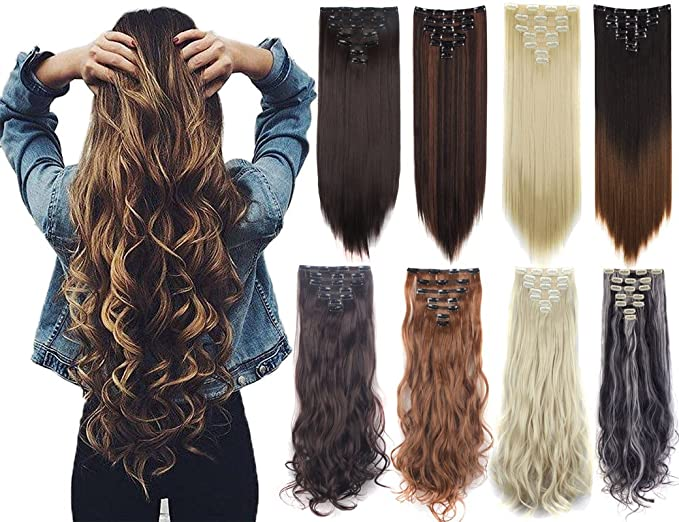 Amazon 7pcs 16 Clips Thick Curly Straight Full Head Clip In
