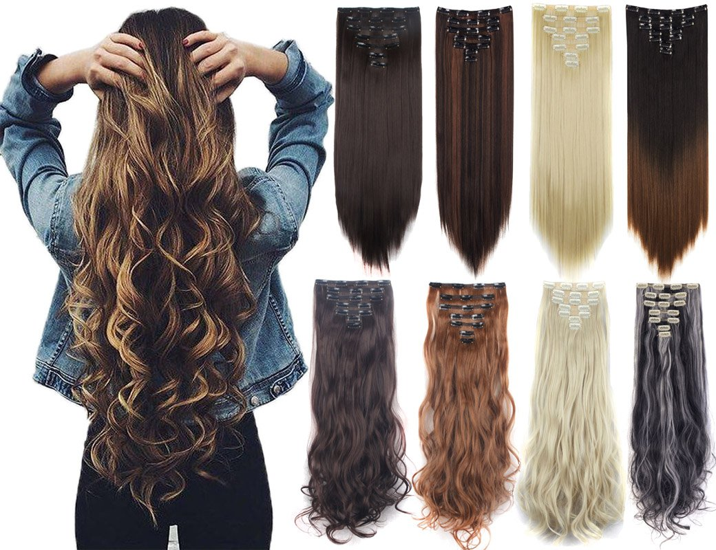 Lelinta 3-5 Days Delivery 7Pcs 16 Clips 23-24 Inch Thick Curly Straight Full Head Clip in on Double Weft Hair Extensions 20 Colors Dark Brown-curly 24 Inch-160g by Lelinta (Image #1)