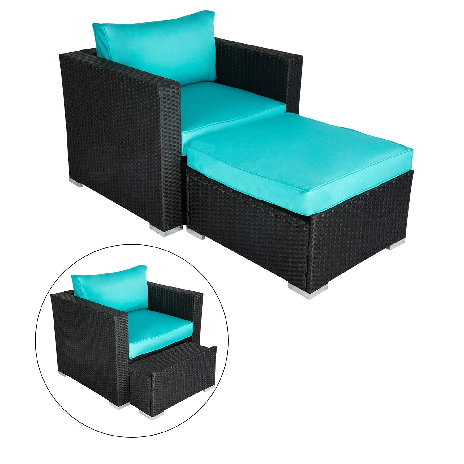 Kinsunny Wicker Furniture Single Chair with Ottoman, All Weather Black PE Wicker Additional Seats for Sectional Sofa by Kinsunny