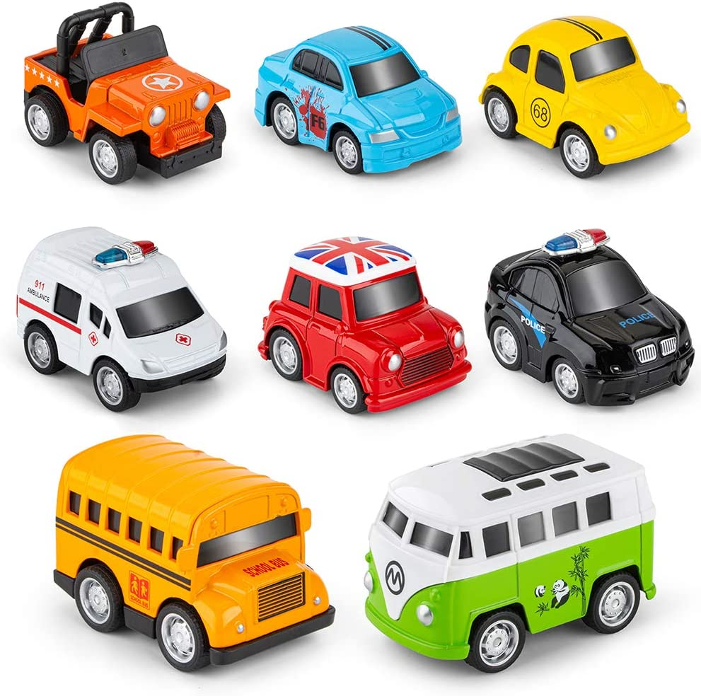 Vehicles and Racing Cars Mini Car Toy for Kids Toddlers Boys,Pull Back and Go Car Toy Pull Back Vehicles,20 Pack Friction Powered Pull Back Car Toys
