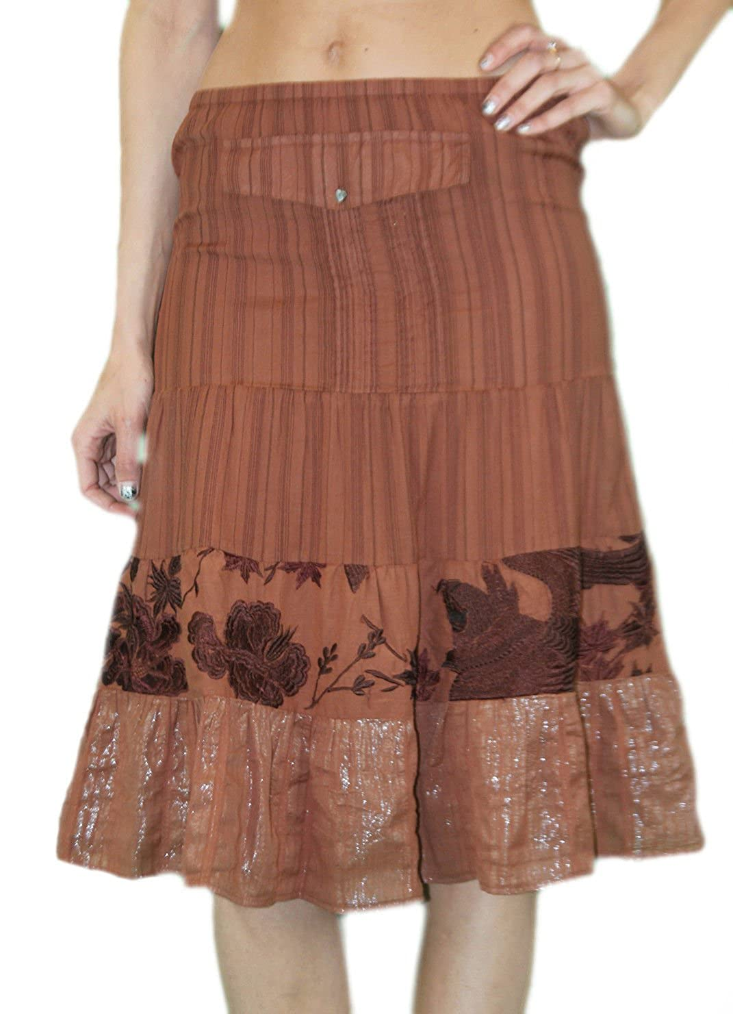 Custo Barcelona Womens Country Eagle Brown Pinstripe Peasant Skirt 493538