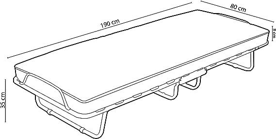 duehome - Plegatin, Cama Plegable Individual, Estructura y Somier, Modelo Bergamo, Medidas: 80 cm (Ancho) x 190 cm (Largo) x 35,5 cm (Alto)