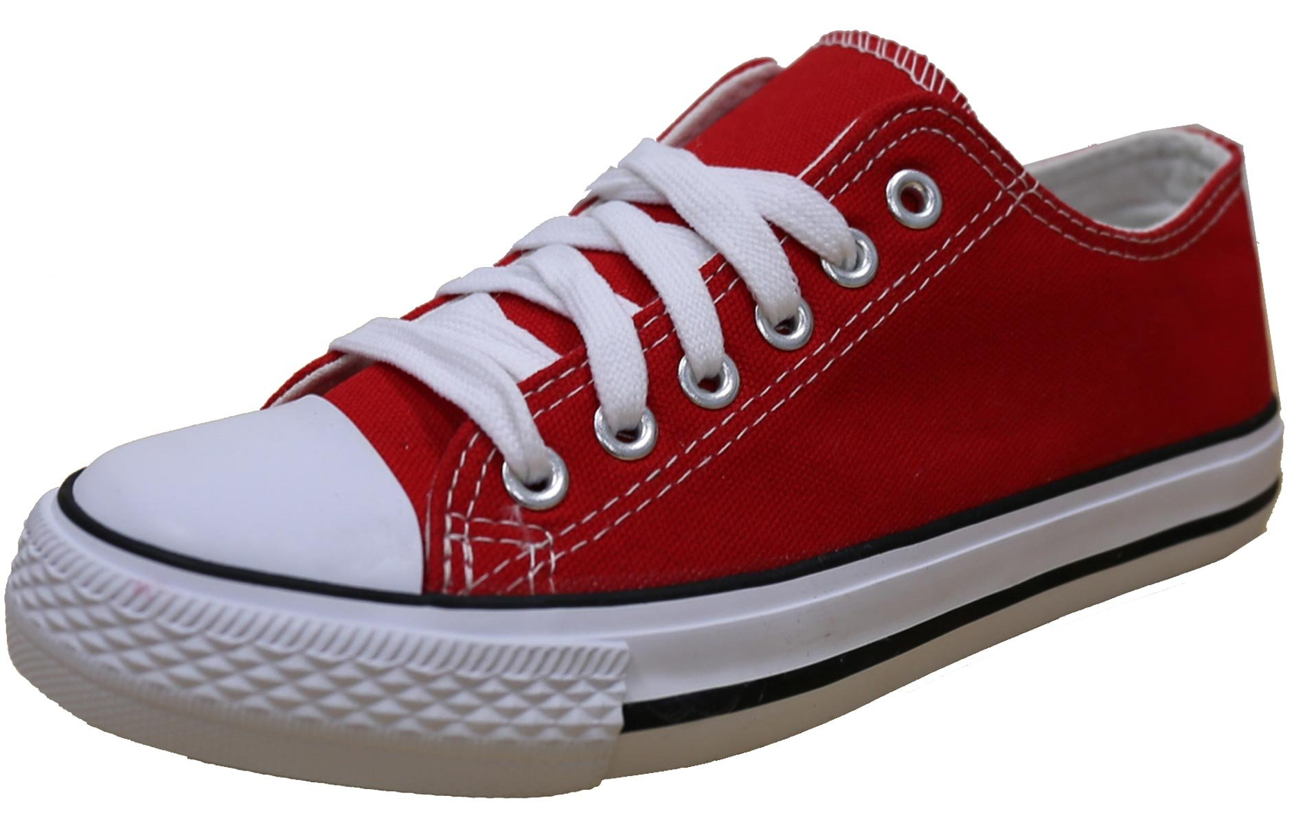 S-3 Women's Low Top Classic Canvas Fashion Sneaker (9 B(M) US, Red)
