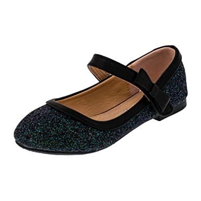 2faa88dc54eef7 Festliche Mädchen Glitzer Ballerinas Schuhe mit Echt Leder Innensohle  M407sw Schwarz 19