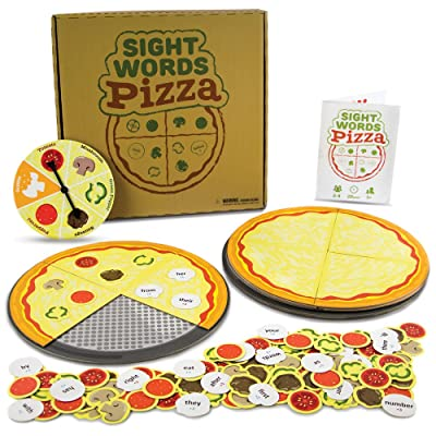 Pint-Size Scholars Sight Words Pizza Board Game | 120 Vocabulary Words for Reading & Spelling Readiness (Dolch & Fry) | Educational Learning Board Games for Kids | Teaching Tool for Parents & Teachers: Toys & Games