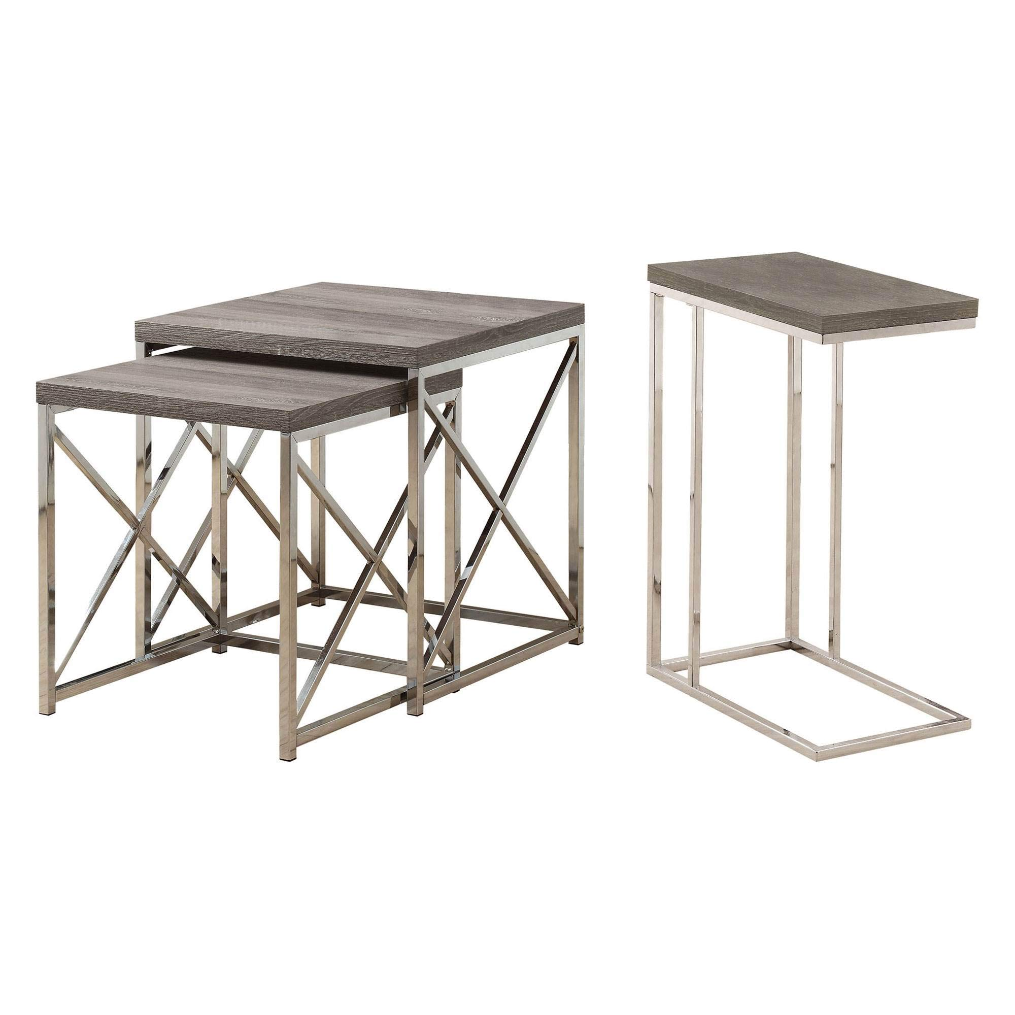 Monarch Contemporary Accent 2-Piece Dark Taupe Nesting End Tables & Side Table by Monarch Specialties