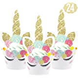 Zealax Unicorn Cupcake Toppers Wrappers Kit Cake Decoration for Kids Themed Birthday Party Baby Shower, Set of 24