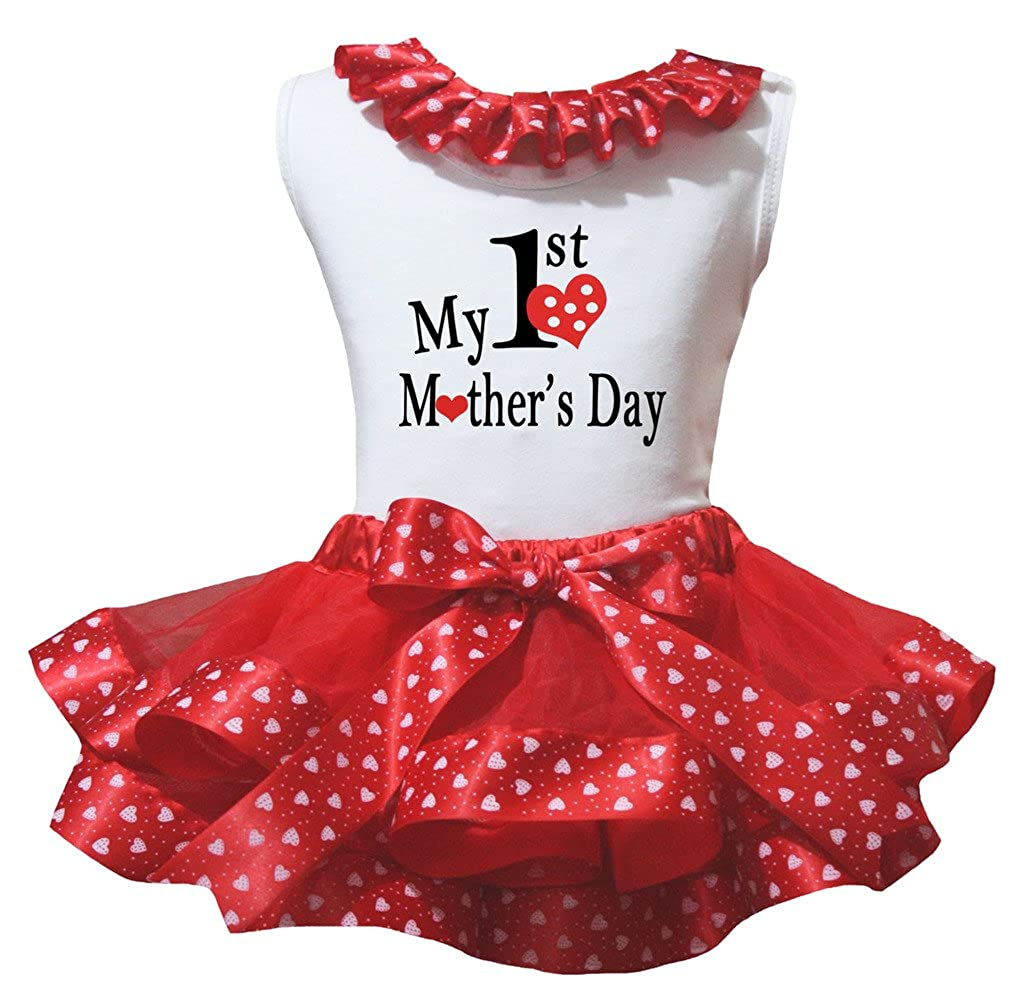 Petitebella My 1st Mothers Day White Shirt Hearts Red Petal Skirt Nb-2y