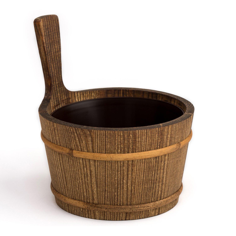 Int/érieur en plastique Pin goudronn/é Originaire de Finlande Pinetta V1 h 4 litre Seau de sauna