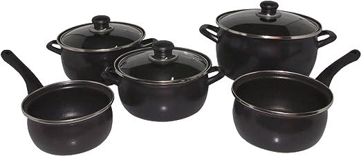 Algon Fenicia - Batería de Cocina de 5 Piezas, Color Negro Mate ...