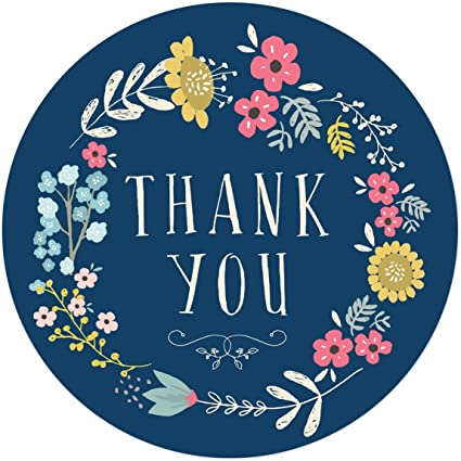 Amazon Com Andaz Press Stylish Bulk Thank You Round Circle Label Stickers 2 Inch Olivia Blue Floral Flowers Wreath On Navy Blue 80 Pack Colored Birthday Wedding Party Decorations Stationary Supplies Health Personal Care