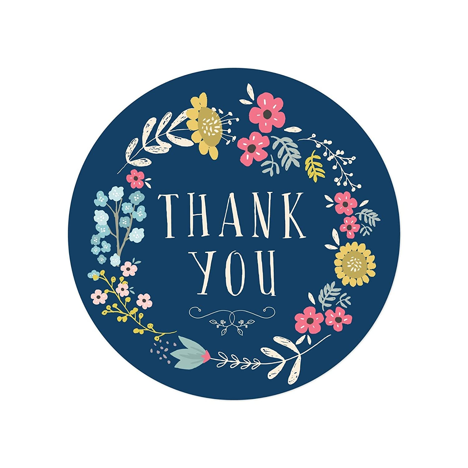 Amazon com andaz press stylish bulk thank you round circle label stickers 2 inch olivia blue floral flowers wreath on navy blue 80 pack colored birthday