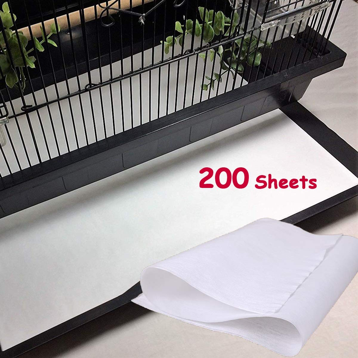 Bonaweite Disposable Non-Woven Bird Cage Liners Papers, Parrot Pet Cages Cushion Pad Mat Accessories, Square-200 Sheets by Bonaweite