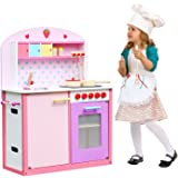 Classic Kids Wooden Kitchen Toy Pretend Cooking Children Role Play Set with Accessories by Oye Hoye - pink,White