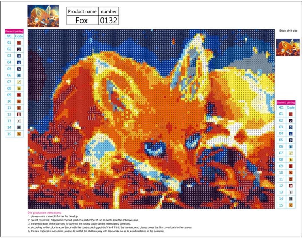 Riou DIY 5D Diamant Painting Voll,Stickerei Malerei Crystal Strass Stickerei Bilder Kunst Handwerk f/ür Home Wand Decor Gem/älde Kreuzstich F/üchse und Meteore Bild Muster