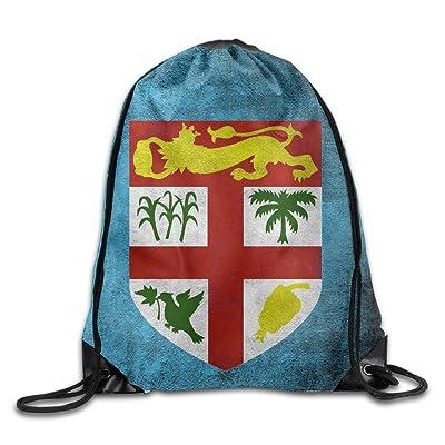 Fiji Flag Gym Beam Port Drawstring Shoulder Travel Canvas Backpack Bag