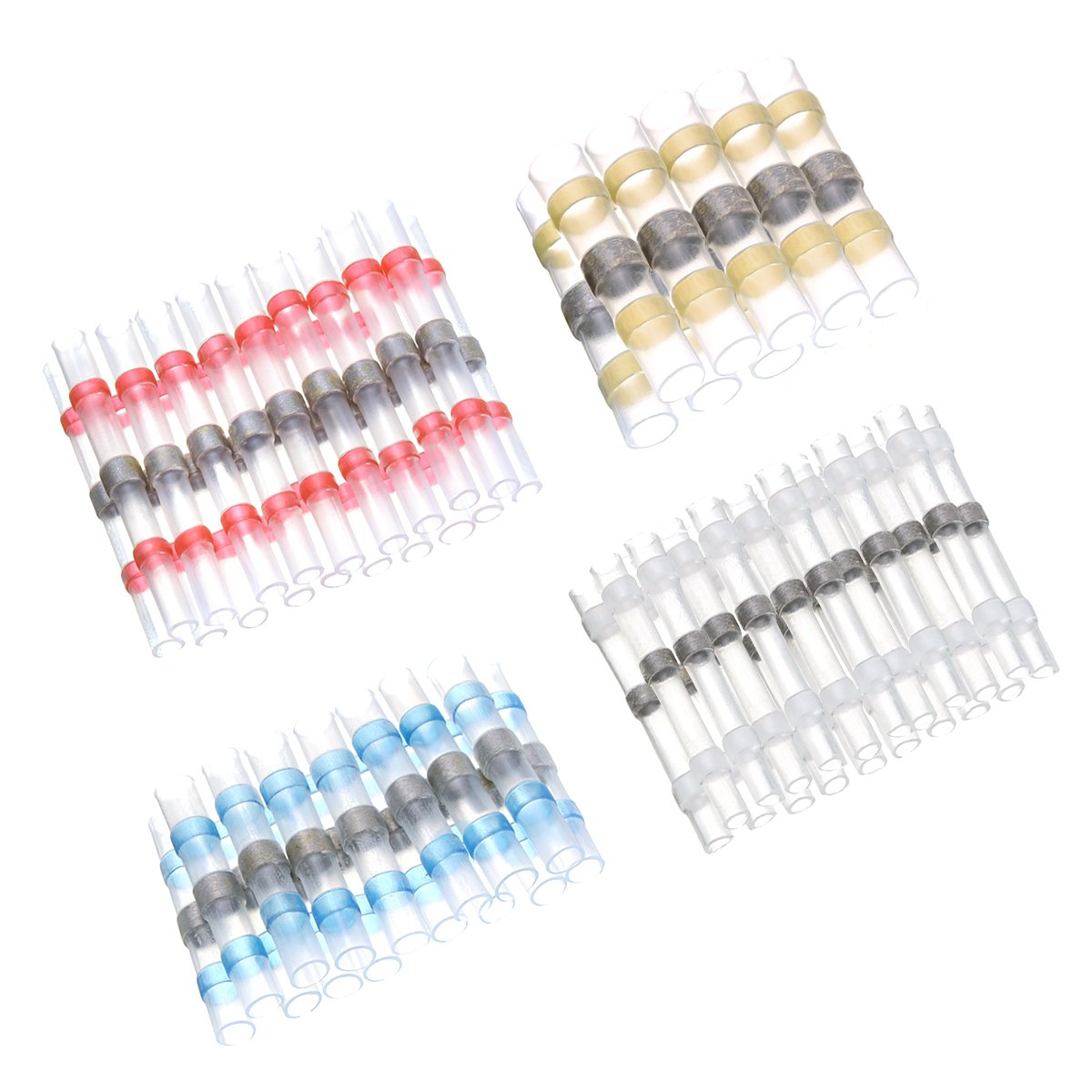 Red+Blue+White+Yellow SOLOOP 50pcs Heat Shrink Connectors Wire terminals Crimp terminals with Soldering Sleeve