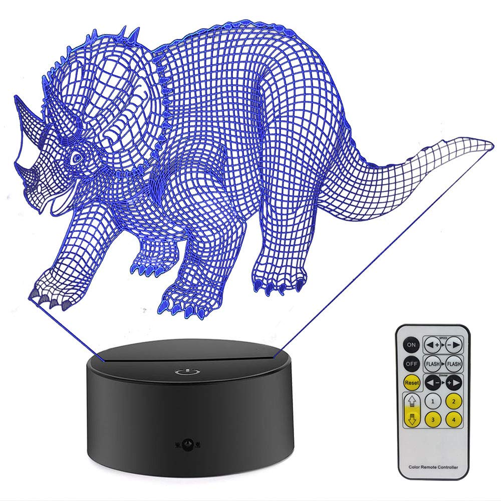 FlyonSea Dinosaur Night Light,Dinosaur Lamp Touch Remote Control 7 Colors Lamp Holiday Birthday Gifts Ideas Children