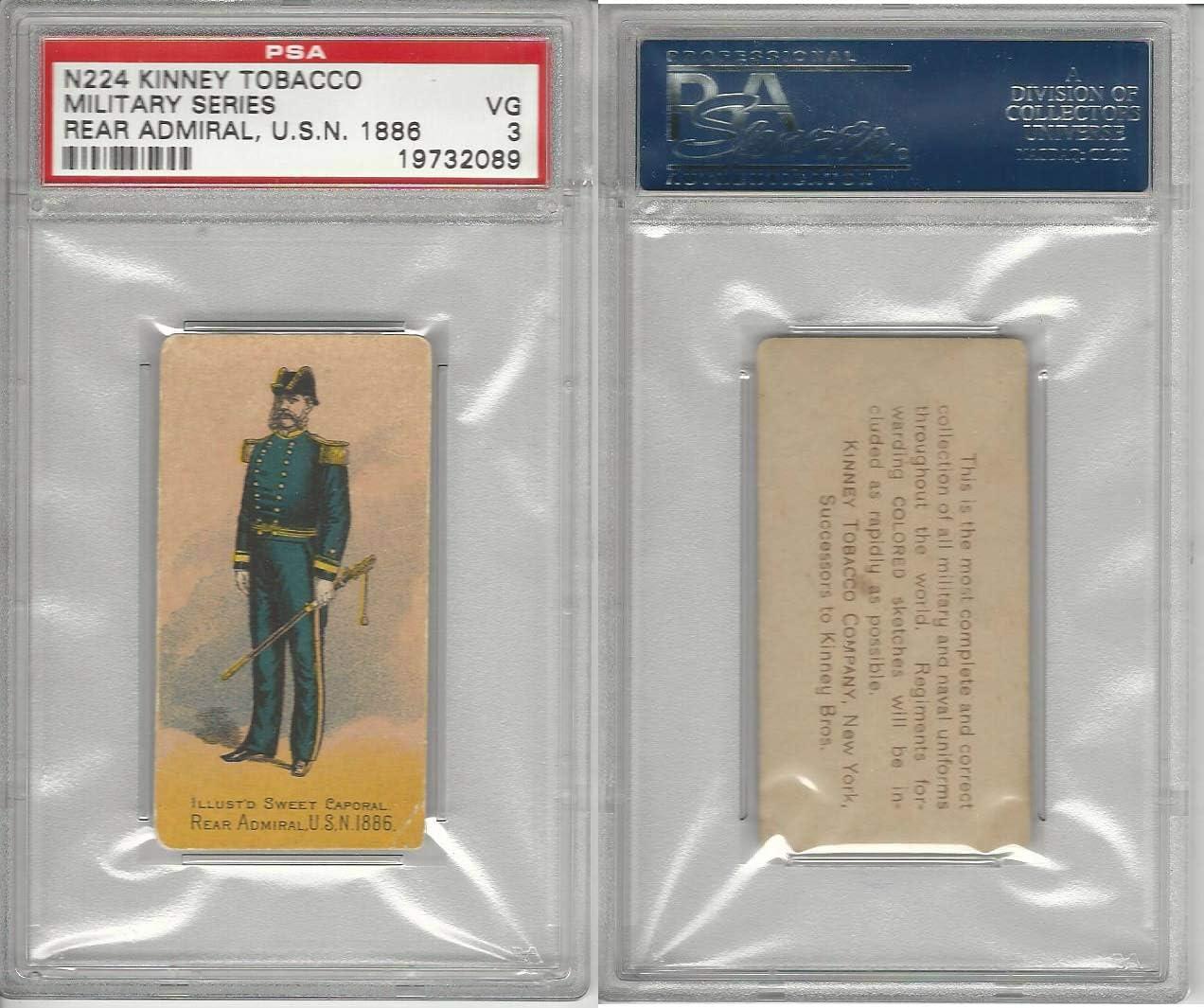 N224 Kinney 1887, Military, US Navy Types,#71 Rear Admiral, PSA 3 VG