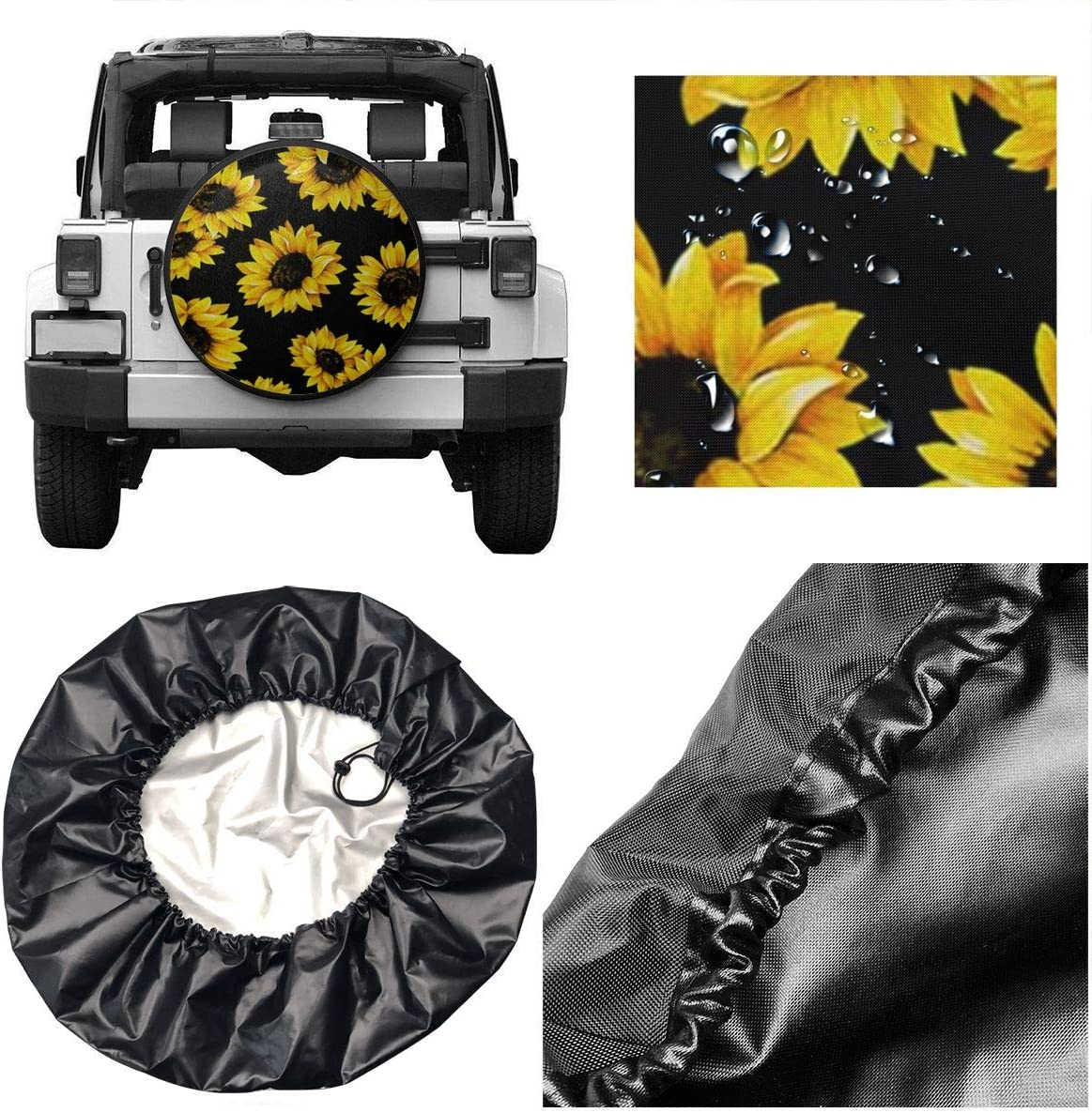 RV Lovely Sunflower Spare Tire Cover Waterproof UV Sun Fit for Jeep Trailer SUV and Many Vehicle 15 Inch