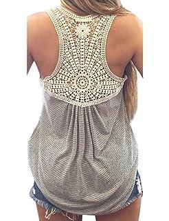 b6386fd1253af2 cooshional Tops Frau Shirt Spitze Patchwork Damen t shirt O-Ausschnitt  Armlos Gestreif Sommer