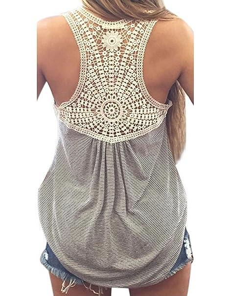 2790b80b33b5 cooshional Tops Frau Shirt Spitze Patchwork Damen t shirt O-Ausschnitt  Armlos Gestreif Sommer,