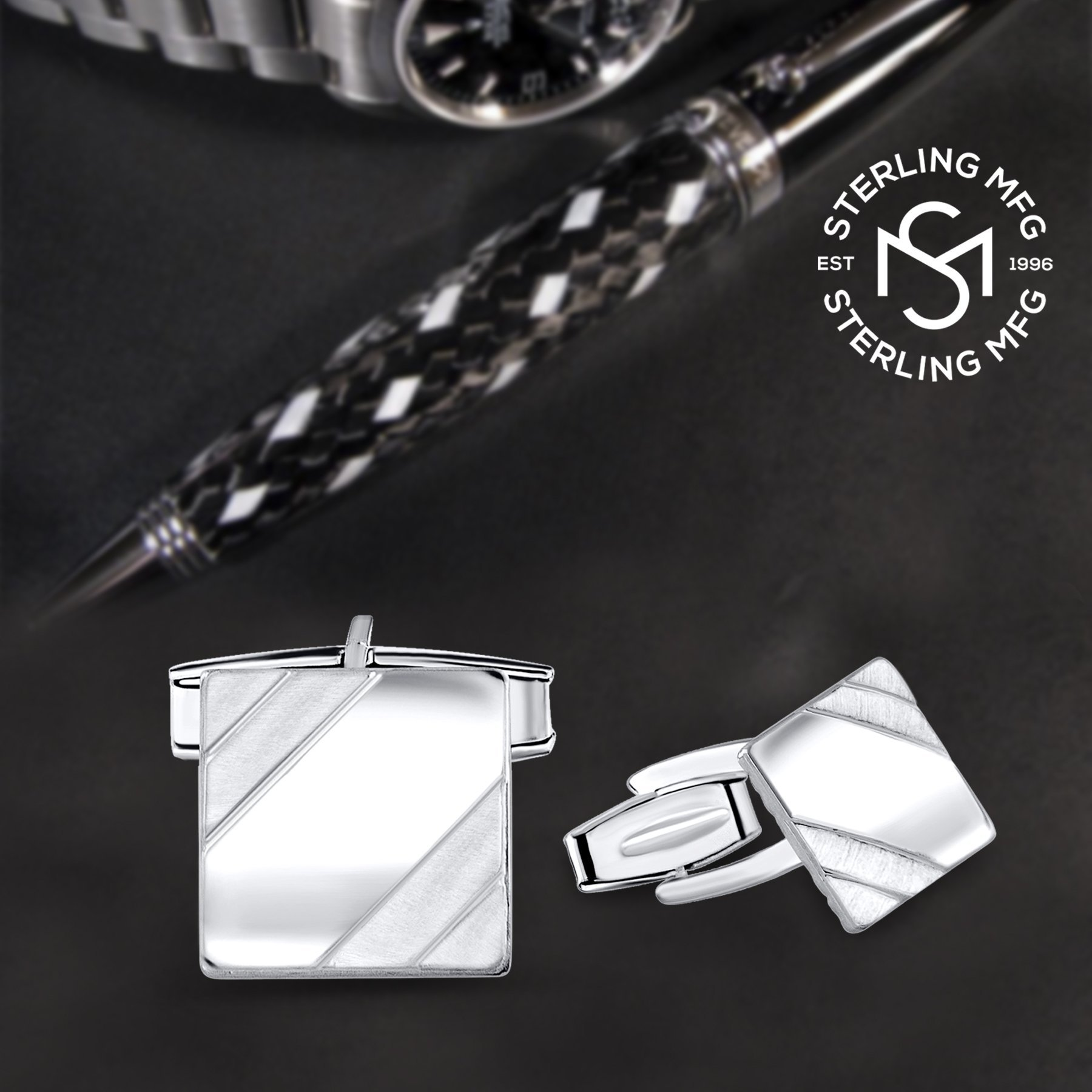 Men's Sterling Silver .925 Square Cufflinks with Satin Finish Accents in Two Corners, Engravable. Made In Italy. 14mm by Sterling Manufacturers (Image #7)