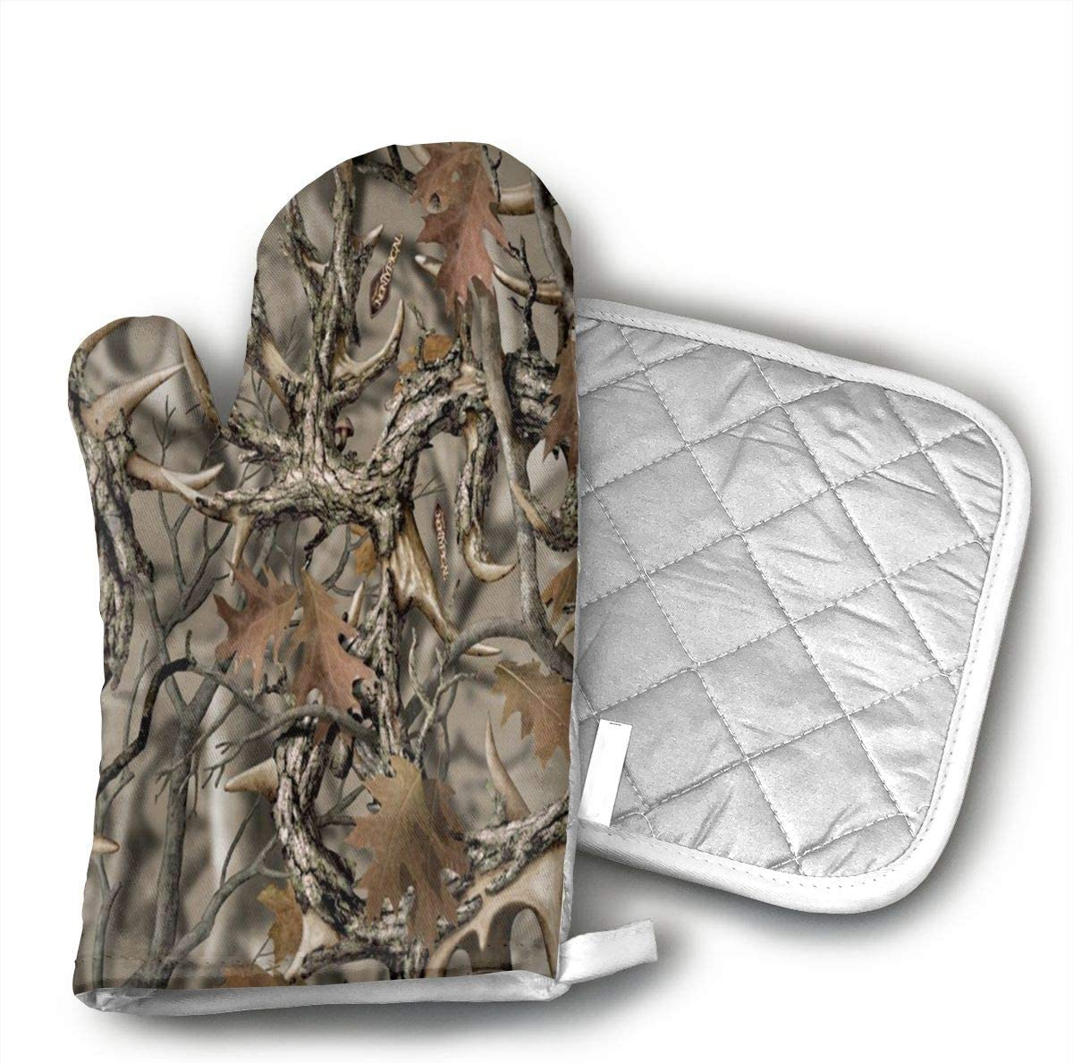 Ydsgjds Realtree Camo Oven Mitts and BBQ Gloves Pot Holders, Heat Resistant Mitts for Finger Hand Wrist Protection with Inner Lining, Kitchen Gloves for Grilling Machine Baking Grilling with Non-Slip