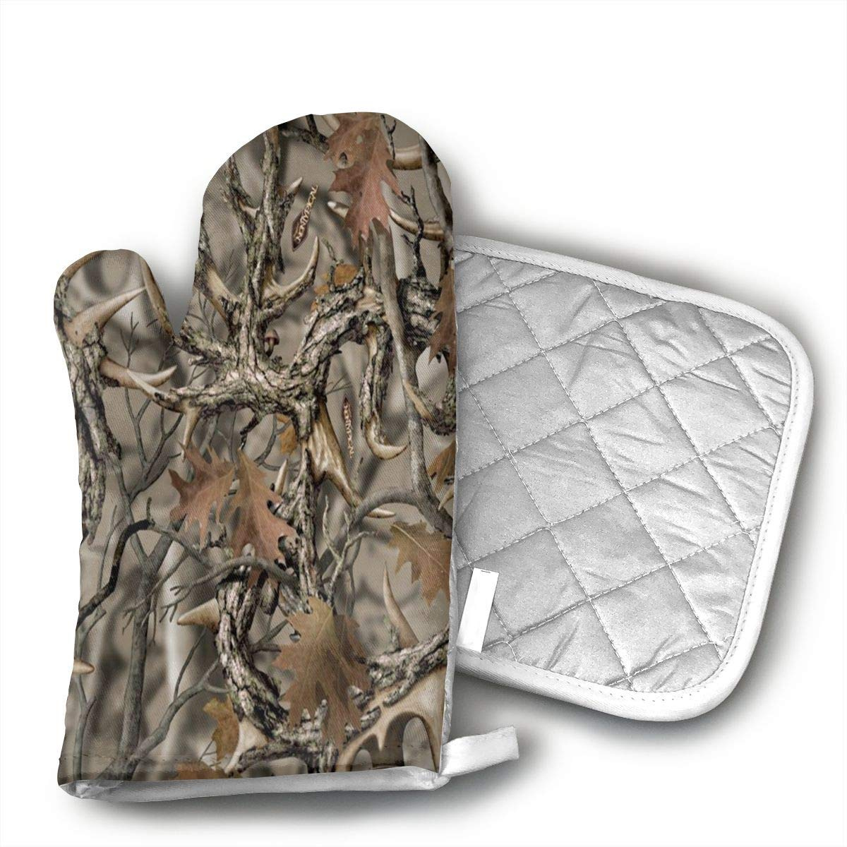 Teuwia Realtree Camo Oven Mitts and Pot Holders Baking Oven Gloves Hot Pads Set Heat Resistant for Finger Hand Wrist Protection