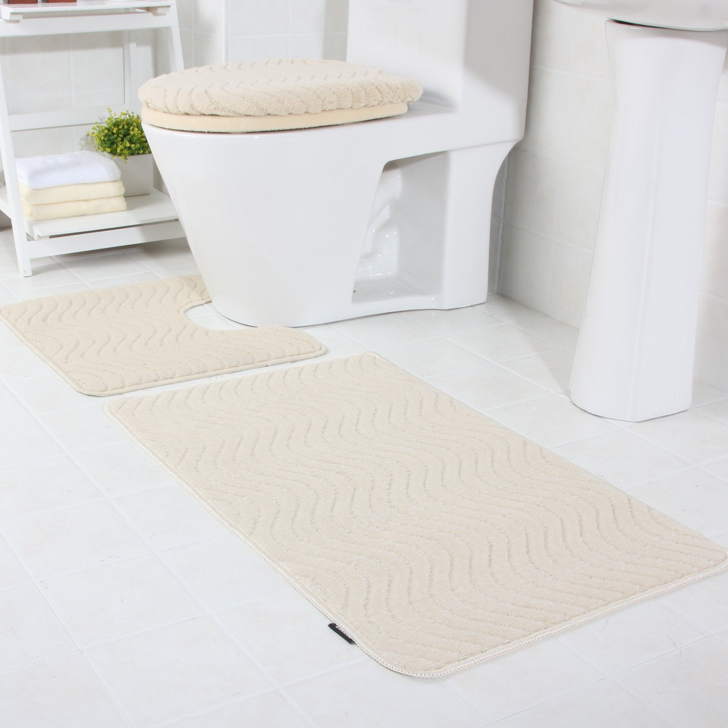 DADA Bath Mats Sets 3 Piece Luxury Soft Polypropylene Bath Mat, Pedestal and Toilet Lid Cover Set Navy Blue DADA HOMETEXTILE