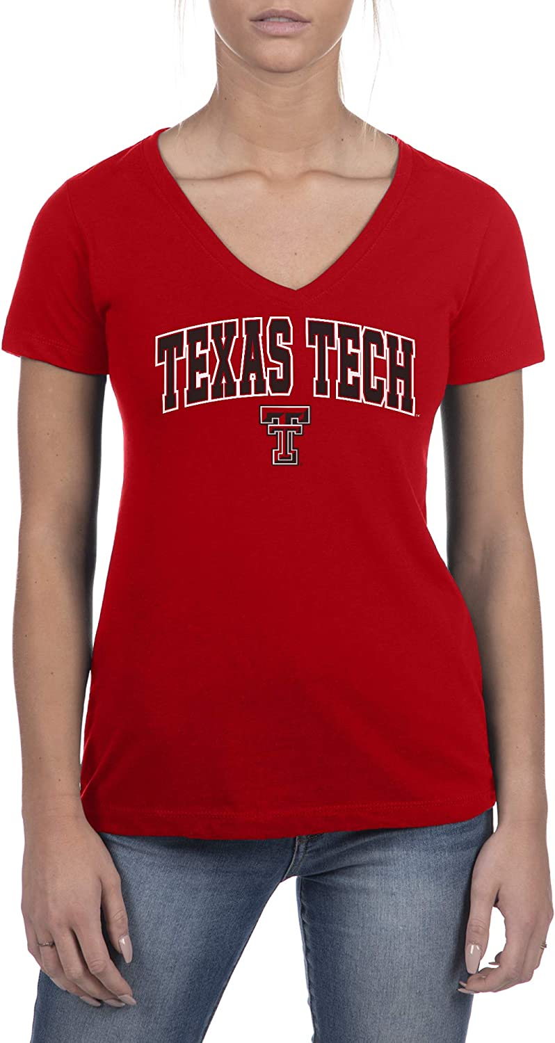 Top of the World Womens Trim Modern Fit Ideal Short Sleeve V-Neck Team Color Tee