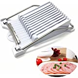 Luncheon Meat Slicer by HUELE - Cheese Slicer Boiled Egg Slicer Fruit Slicer Soft Food Slicer Sushi Cutter Canned Meat Slicer with 10 Cutting Wire in Stainless Steel