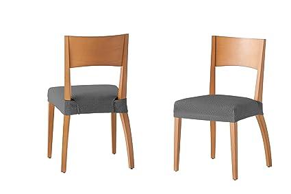 Martina Home Tunez - Funda para Silla, Tela, Funda silla asiento, Gris, 24 x 30 x 6 cm, 2 Unidades