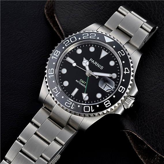 PARNIS 40 mm Mens Reloj Automático GMT verde mano bisel de cerámica de cristal de zafiro: Amazon.es: Relojes