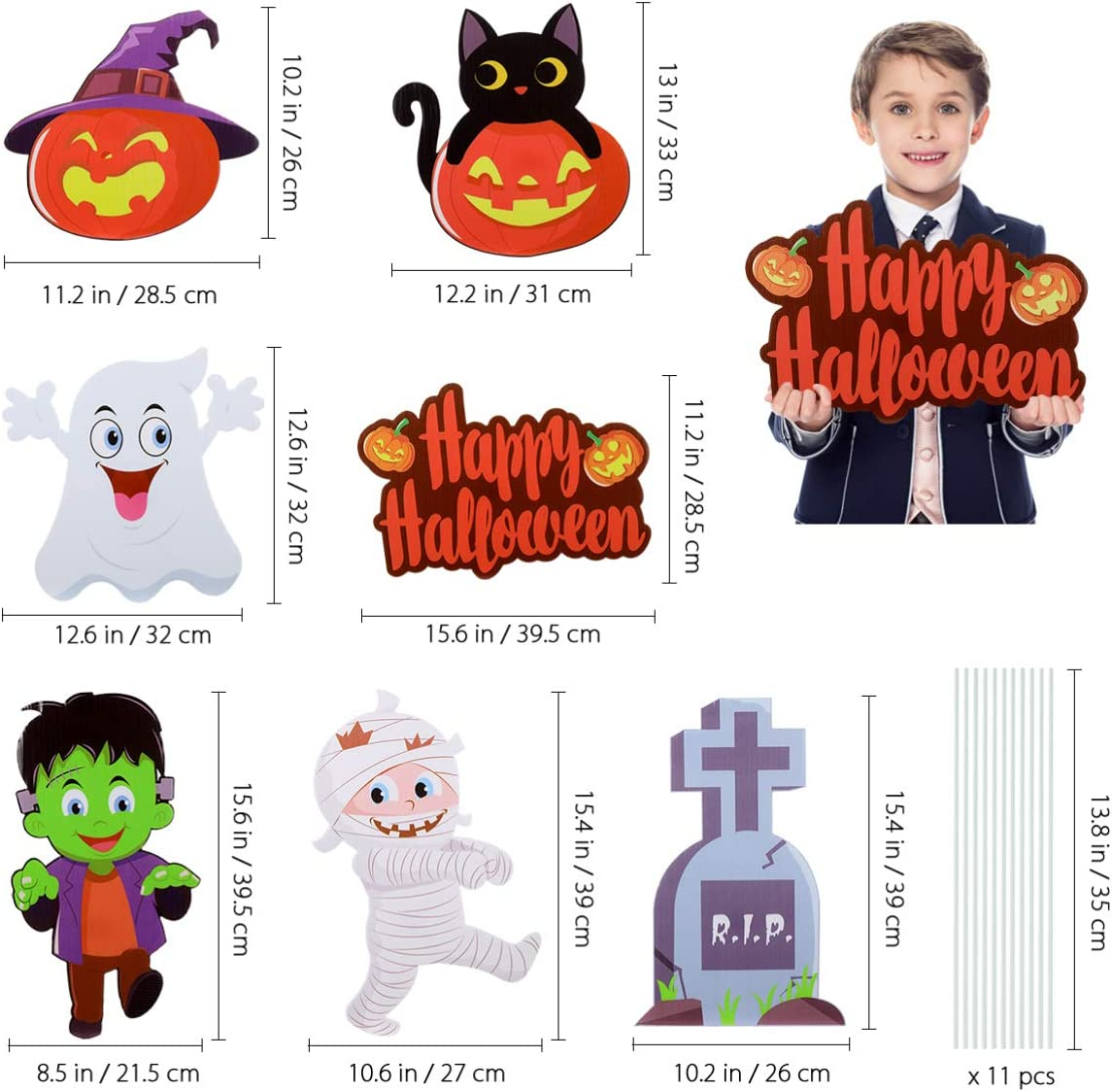Halloween Decorations Outdoor Yard Stake Signs, Halloween Yard Lawn Decorations 7Pcs