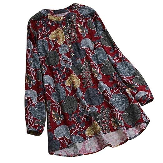 VECDY Camisa Holgada De Manga Larga con Estampado Floral con Cuello En O De Manga Larga para Mujer, Camiseta Holgada Gran Tamaño(Rojo, XL): Amazon.es: Ropa ...
