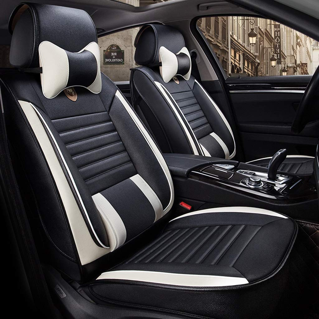 カーシートカバー、フロントとリアシート5席フルセットのユニバーサルレザー四季パッド互換エアバッグシートカバー防水レザーカーシートクッション枕 (色 : ブラック)  ブラック B07RBXXH4S