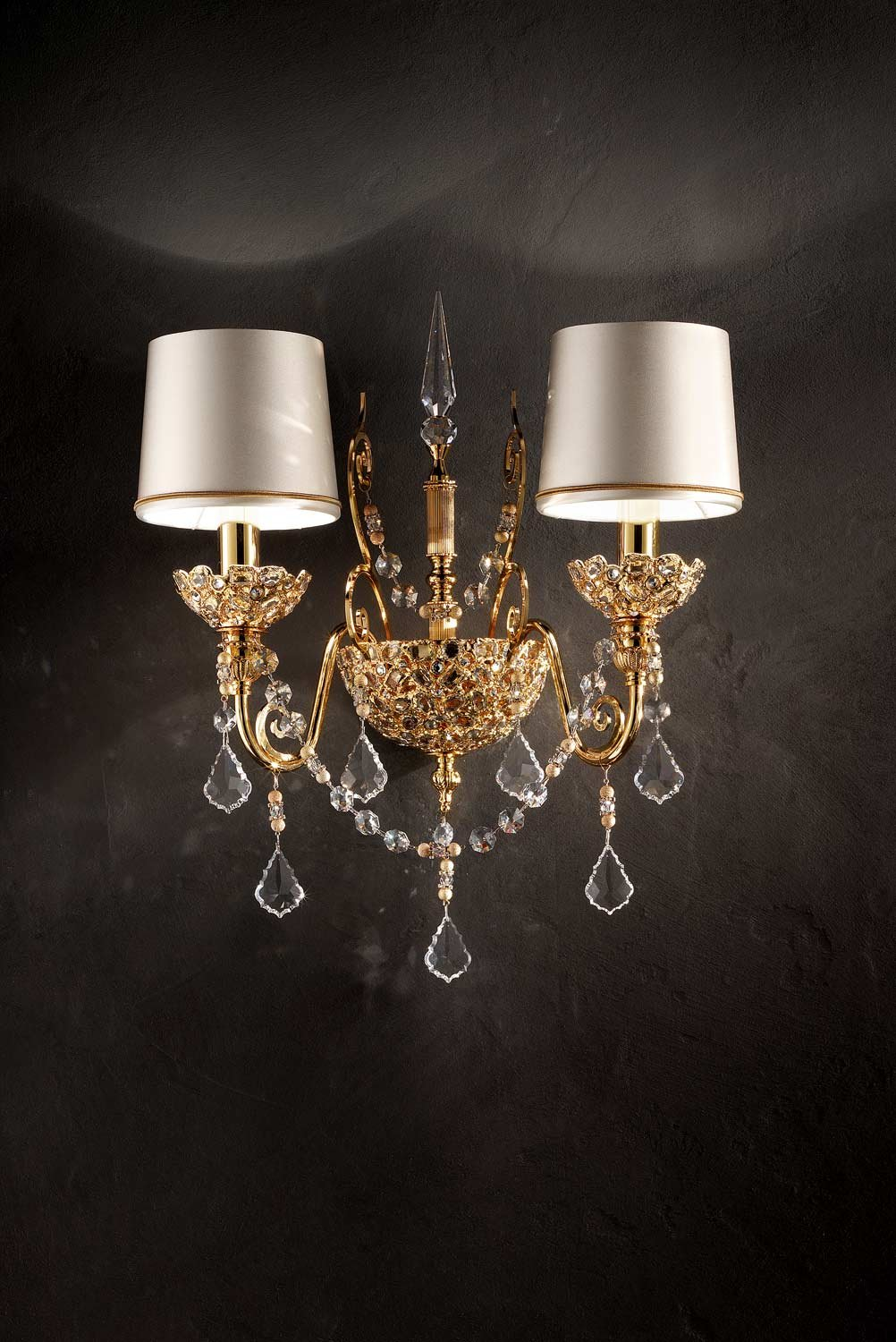 masiero aplique Imperials 12 Gold Plated a mano, Made in Italy, Made with Crystal garlands