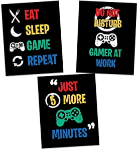 """Unframed Video Game Themed Funny Wall Art Prints, Set of 3 (8"""" x 10"""") Gaming Poster Art Painting For Kids Room Teenage Boy Decor"""