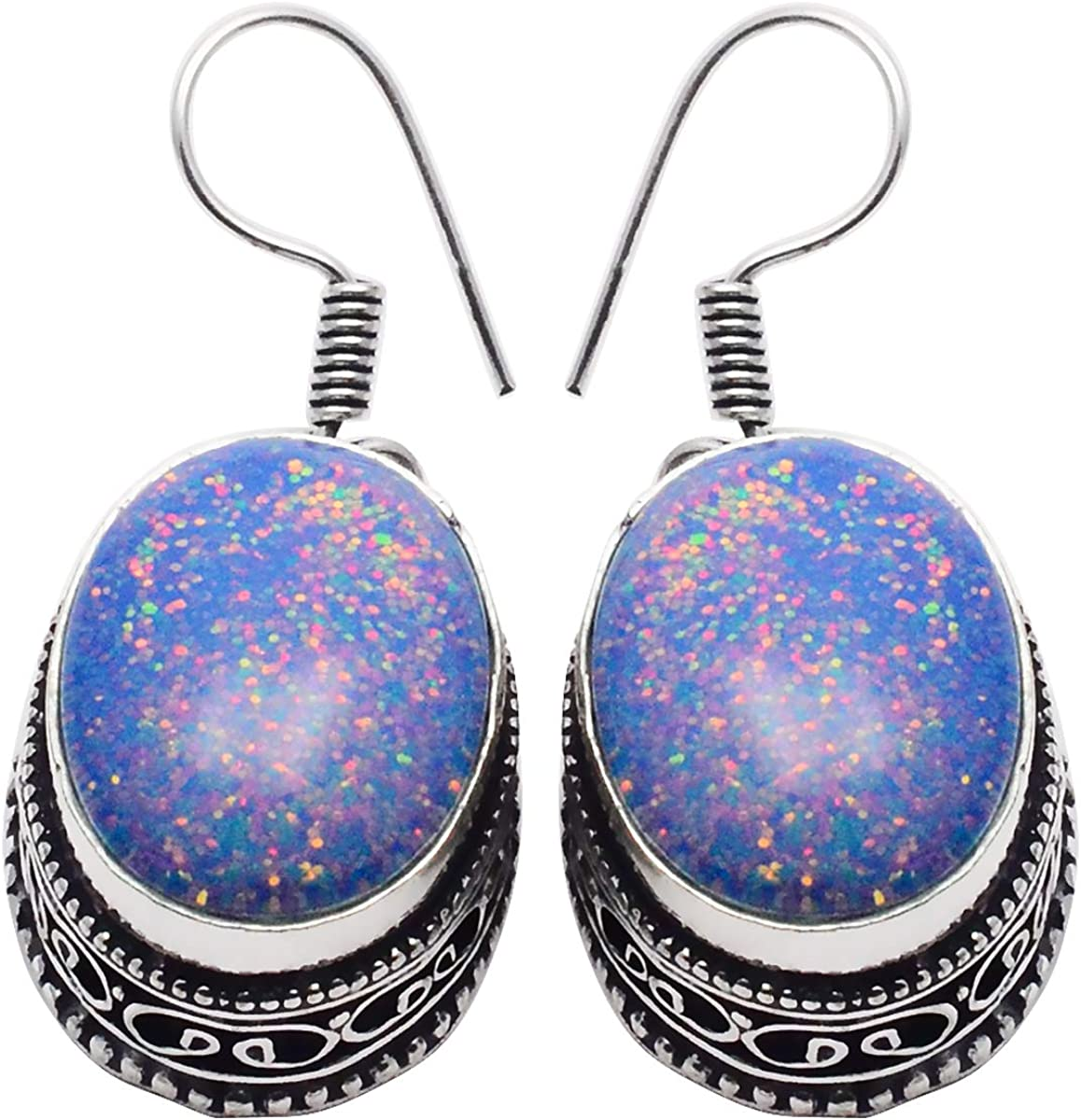 SilverArt Handmade Earring Turquoise 925 Sterling Silver Plated Jewelry for Womens and Girls