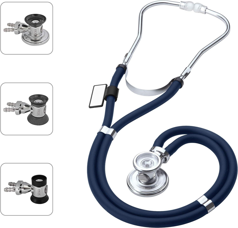 MDF Instruments MDF767 Sprague Rappaport - Estetoscopio de doble cabeza con membrana convertible adulto, pediátrica e infantil, color azul marino