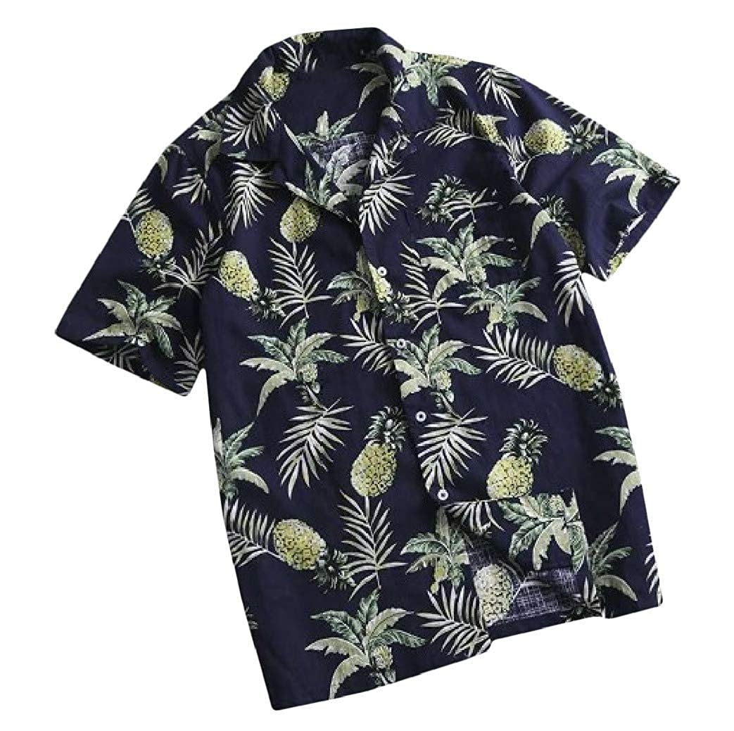 Freely Mens Button Down Relaxed-Fit Beach Hawaiian Short-Sleeve Tee Tshirt