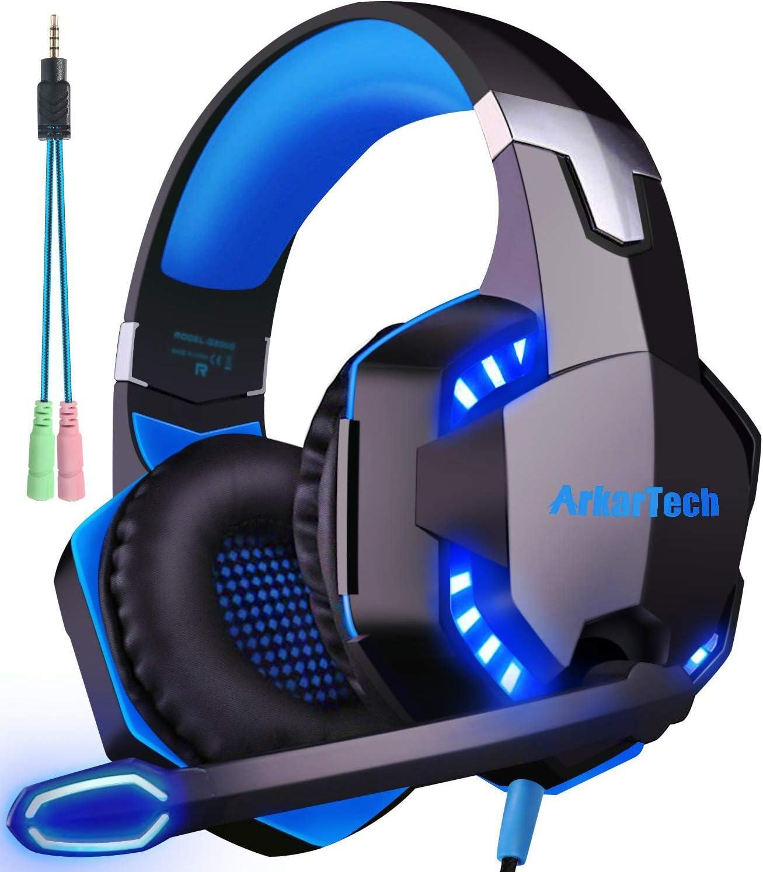 ArkarTech G2000 - Auriculares de juego con micrófono estéreo y graves LED, luz regulador de volumen para PC