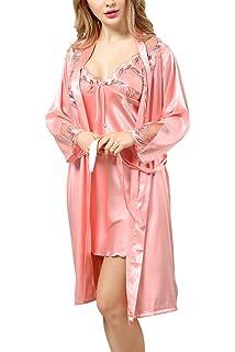 BellisMira Women s Satin Robe Silk Dressing Gown Lace Pyjamas Long ... ebcdcbca4