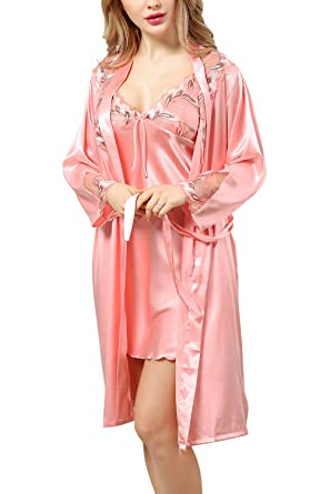 Dolamen Womens Lace Nighties Satin Dressing Gown Bathrobe, Ladies Pyjamas Nightwear Nightdress (Medium,