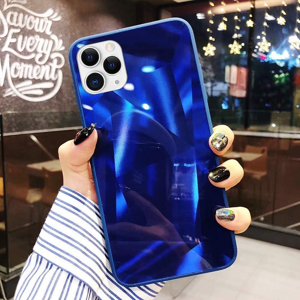 Uposao Compatible con Funda iPhone 11 Purpurina Funda,Espejo Glitter Brillante Carcasa con 3D Geométrico Diseño TPU Slim Silicona Carcasa Funda Caso para iPhone 11,Azul