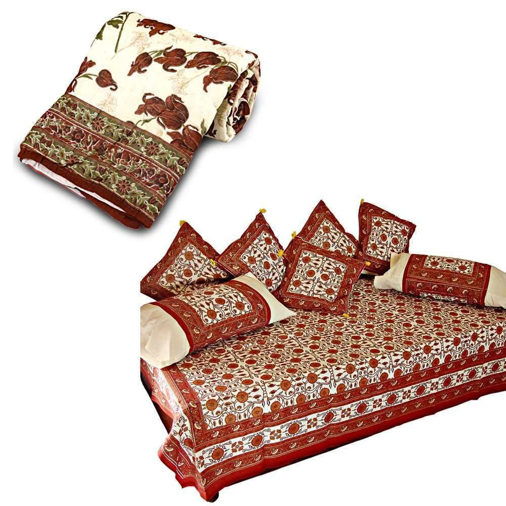 Little India Printed Dewan Set n Single Bed Razai Quilt Combo 342