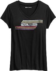 Harley-Davidson Womens Retro Tank Stripe Tee, Black